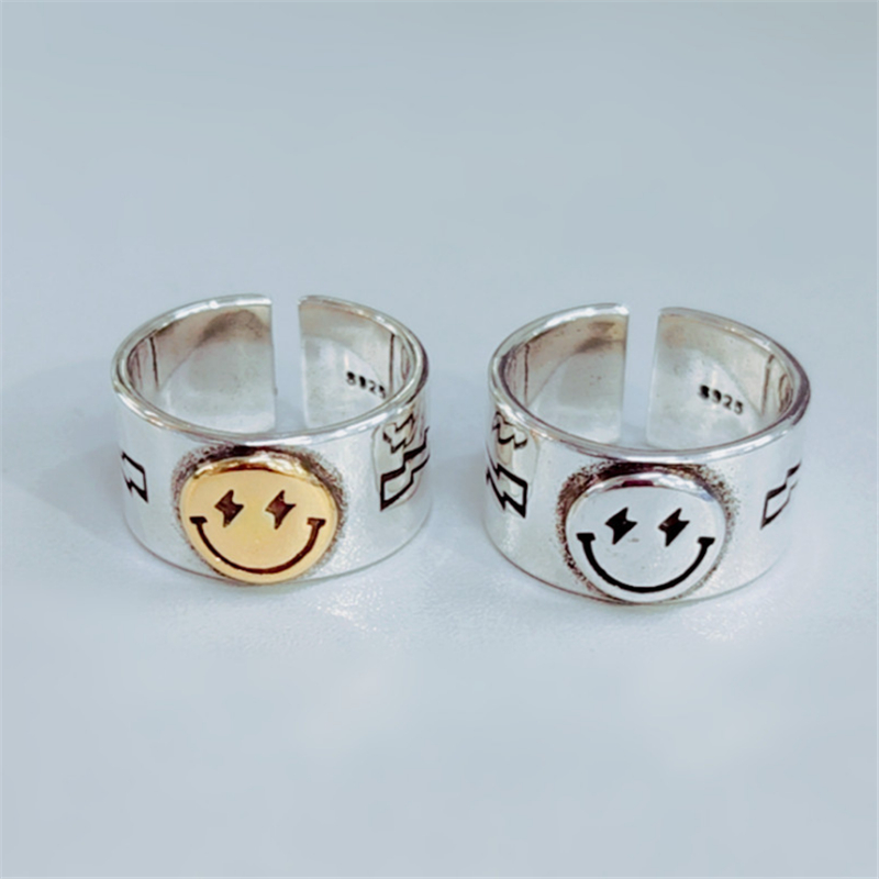 2020 Hot Sale Happy Smiley Face Lightning 925 Stamp Silver Plated Ring Big Large Retro Vintage Golden Gothic Women Jewelry Rings(China)