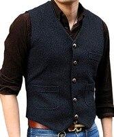 New Men's Suit Vest V Neck Herringbone Tweed Casual Waistcoat Formal Business Vest For Green/Black/Brown/Coffee
