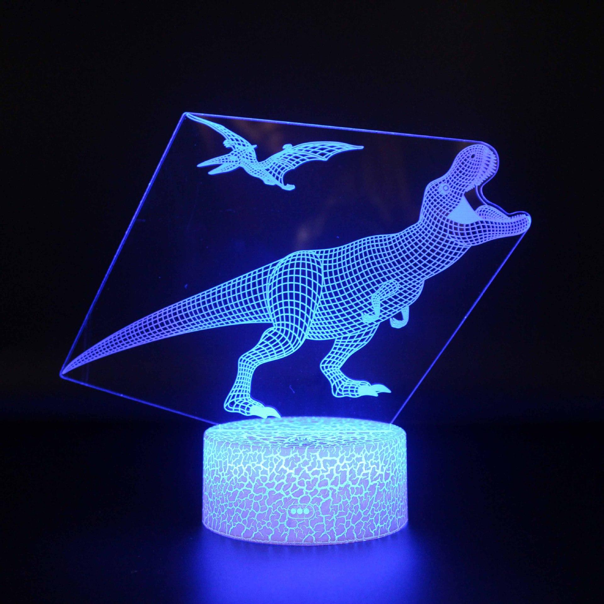 Динозавр 3D LED иллюзия Лампа 3D Оптическая иллюзия огни 7 цветов разноцветные USB украшение дома цвет сменная лампа для мальчиков