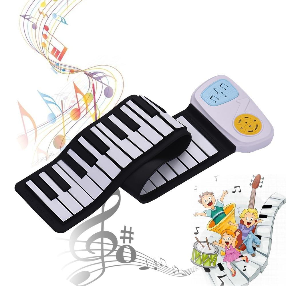 Alto-falante com Etiqueta dos Desenhos Animados para Crianças Portátil Silicone Teclado Eletrônico Rolling-up Piano Built-in 49-chave