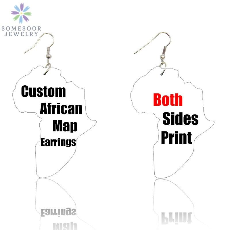 SOMESOOR Custom African Map Wood Drop Earrings Both Sides Print Personalized Loops Pendant Ear Dangle Jewelry For Women Gift