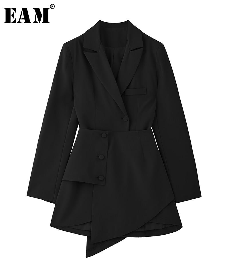 [EAM] Donne Nero Irregolare Split Comune Pulsante Vestito Nuovo Risvolto Manica Lunga Loose Fit Modo di Marea di Autunno della Molla 2020 1Y787