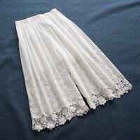 Lamtravel-pantalones holgados de pierna ancha para mujer, pantalones de encaje calado de hada Lolita, primavera 2021