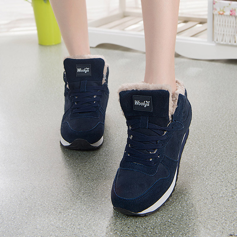 Women and Men Winter Snow Boots Plus Size 36-47 Warm Ankle Botas Hombre For Leather Winter Boots Shoes Men Plush Winter Sneakers  - buy with discount