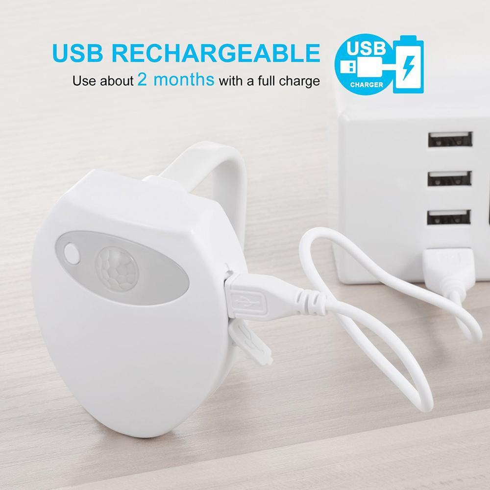 Toilet Light WC USB Charging Waterproof Backlight For Toilet Bowl 8 Colors Smart PIR Motion Sensor LED Night Light For Bathroom