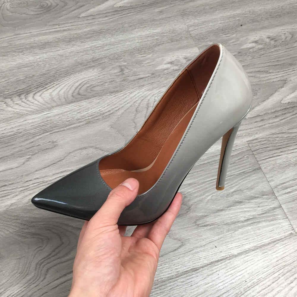 2020 kadın klasik pompalar aşırı yüksek topuklu 12cm seksi Stilettos bayanlar sivri burun ayakkabı çıplak kırmızı mavi siyah bej leopar topuklu