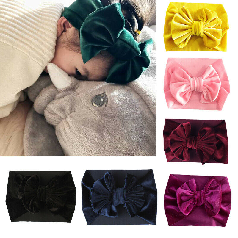 Kid Girl Baby Headband Toddler Pleuche Velvet Bow Flower Hair Band Accessories Headwear Bandeau Bebe Fille