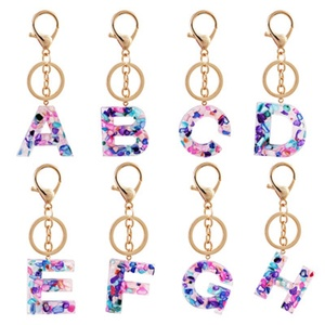 Cute 26 Letter Pendant Key Chain For Women Men Acrylic Keychain A To Z Keyring Holder Luxury Key Ring Charm Bag Accessories Gift