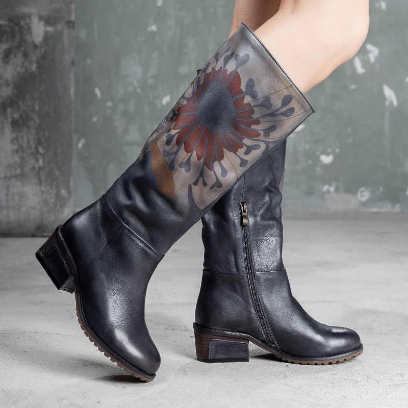 2019 VALLU Neue Retro Schuhe Frauen Stiefel Aus Echtem Leder Knie Hohe Stiefel Aus Echtem Leder Handgemachte Blume Weibliche Lange Stiefel