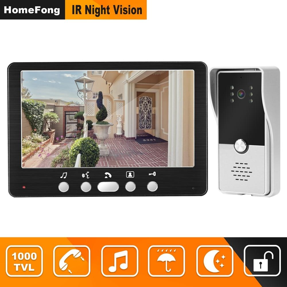 HomeFong Wired Door Intercom Video Door Phone  With  1000TVL Doorbell Camera Support Electronic Lock 7 Inch Home Video Intercoms