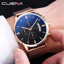 CUENA Mens Watches Men Quartz Stop Watch Luminous Stainless Steel Waterproof Sport Morloges Mannen