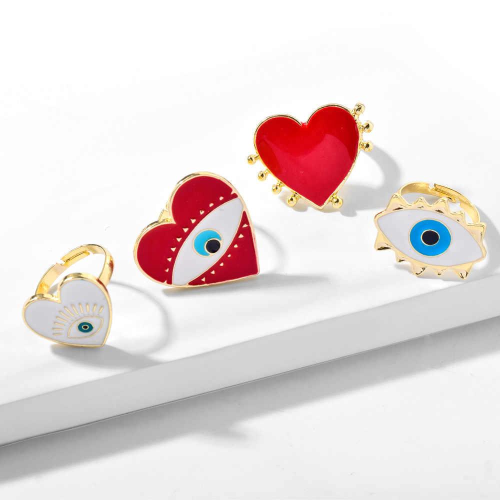 Красный в форме сердца глаз простое кольцо комплект ювелирных изделий для женщин в винтажном стиле 2020 геометрической формы, в стиле бохо Регулируемая Настольная модные кольца женские вечерние, ювелирное изделие, подарок