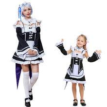 Umorden japon animesi RE: E n e n e n e n e n e n e n e başlangıç ömrü başka bir dünya Rem Ram Cosplay elbise kız çocuklar için genç kız kadın