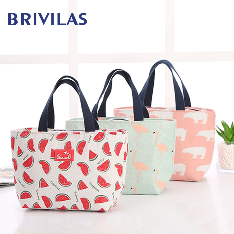 Brivilas Hand Cooler Lunch Bag Funny Cartoon Kids Bento Bags For Women Flamingo  Thermal Breakfast Box Portable Picnic Travel