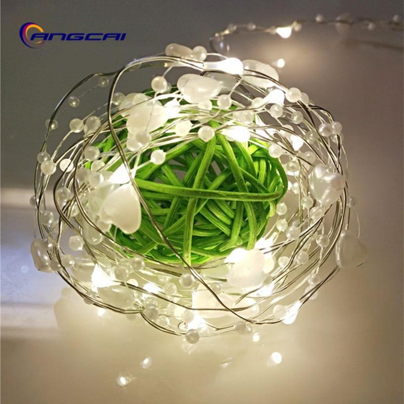 Handmade LED Copper Wire Pearl Heart Fairy Light String Garland  ,wedding,part,xmas,bedroom Festival Decor Battery Powered