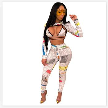 Newspaper Print Women 3 Piece Set Skinny Club Long Sleeve Crop +Bra Top and Long Pant Suit Lady Tracksuit Autumn Bandage Outfits