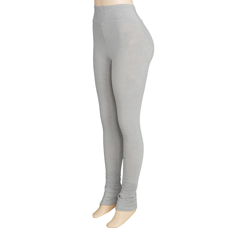 Hfe165a4a6b6c4d1b98b7ac66da398ad2X Autumn Solid Color High Waist Stacked Leggings Pants for Women Skinny Trousers Sweatpants Sexy Draped Ruched Pants Streetwear