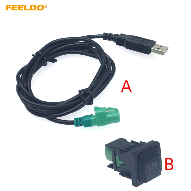 FEELDO Car Radio CD Player 145cm USB Audio Cable Adapter With Switch Button for Volkswagen USB Wire Cable #AM6221(China)