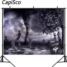Capisco Photography Backdrops Cemetery Haunted tornado Background Ghost Tomb Gravestone Halloween Party Photo Studio Props(China)