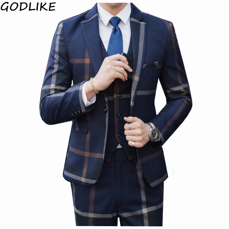 Fashion Plaid Designs Lapel Mens Custom Suit Sets Groom Tuxedos Wedding 3 Pieces Suits Sbest Male Blazer (jacket + Pants + Vest)