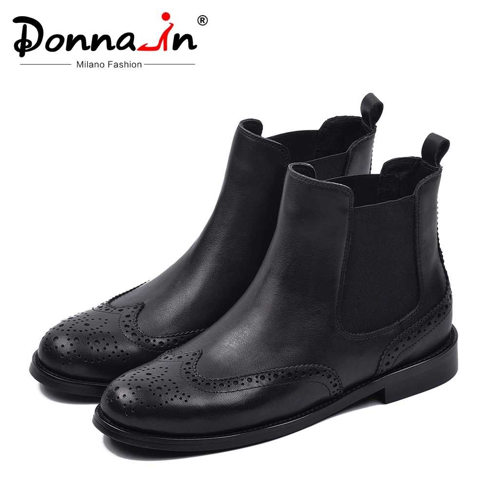 Donna-in Autumn Winter Chelsea Boots for Women Genuine Leather Short Plush Low Med Square Ankle Boots Slip on Round Toe Shoes