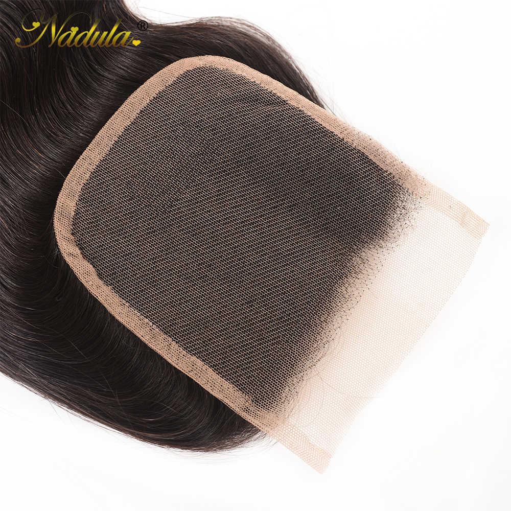 Nadula pelo brasileño ondulado 4x4 Cierre de encaje medio marrón suizo cierre sin división 130% Destiny Remy Cierre de pelo