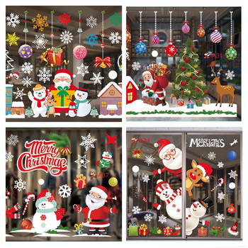 28 Types Large Merry Christmas Wall Stickers Santa Snowflake Window Room Decor PVC New Year Christmas Home Decor Removable removable diy home decor christmas tree wall stickers