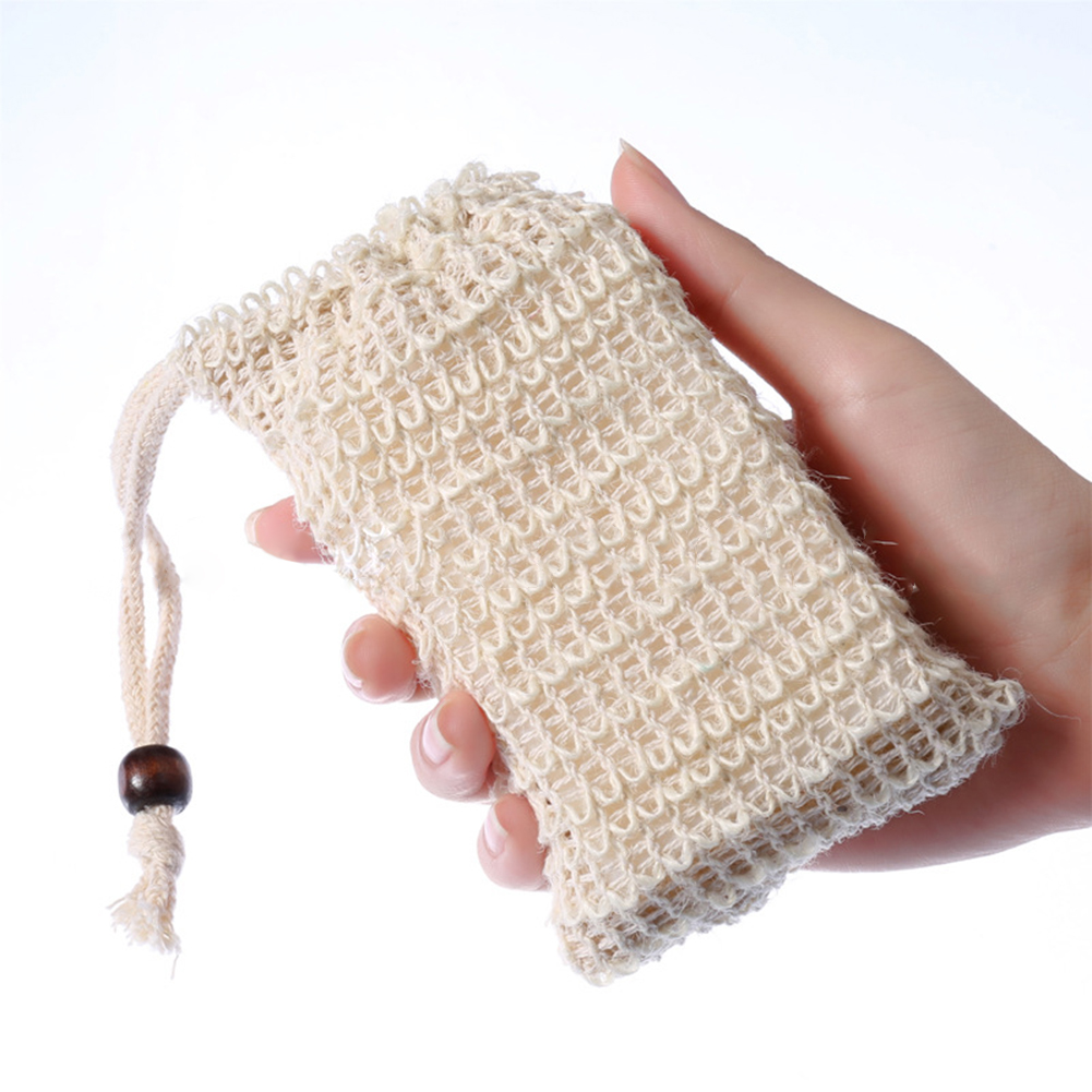 1PC Cotton Linen Soap Foaming Net  Shower Exfoliator Sponge Pouch Comfortable Blister Mesh Soap Saver Bag Foaming Net