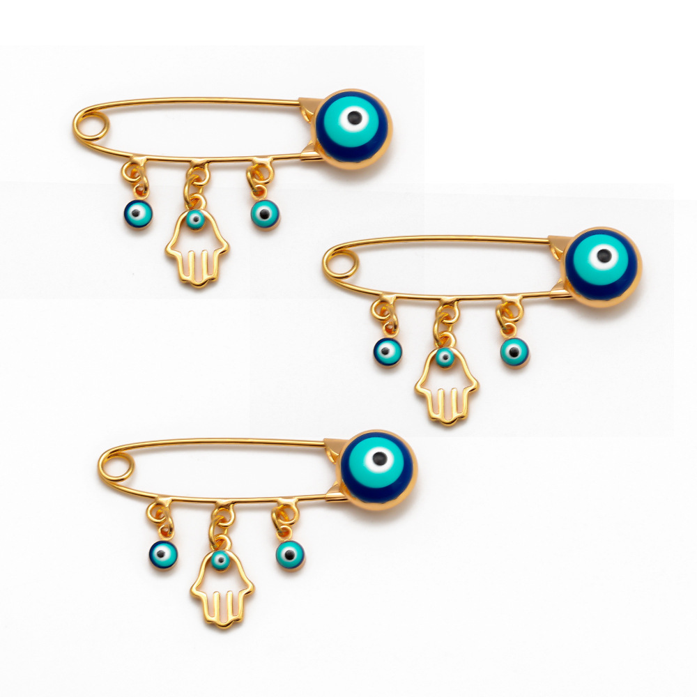 Turkey Evil Eyes Hands Brooch Safety Pin Blue Lucky Eyeball Brooch Charm Ethnic Lapel Pin Brooches For Women Jewelry