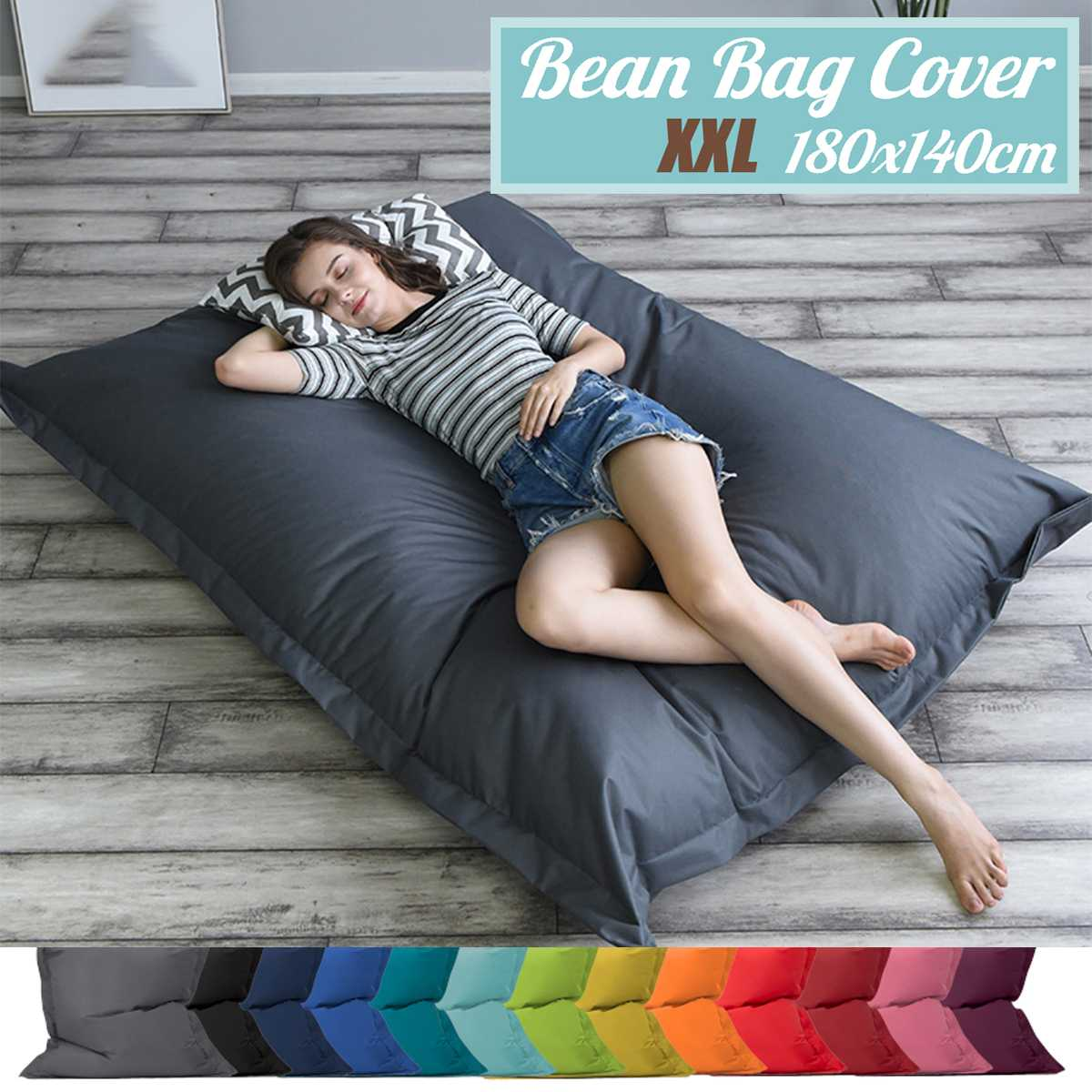 Square BeanBag Sofa Cover Chairs Without Filler Waterproof Lounger Seat Bean Bag Puff Asiento Couch Tatami Living Room Furniture