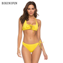New Sexy Solid Yellow Bikini Women Swimsuit Strappy Hollow Bathing Suit S-XL Girl Braided Bandage Swimwear Micro Set