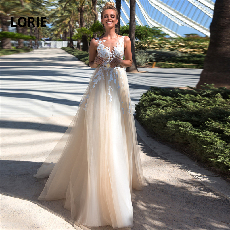 LORIE 2019 New Boho Wedding Dress Appliques & Tulle A-Line Wedding Dress V-neck Sleeveless Princess Bride Dress Vestido De Noiva