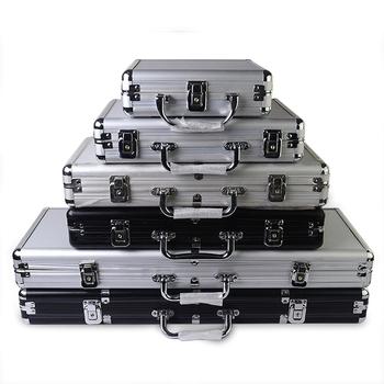 Żetony do kasyna pojemność walizki texas poker Chips wysokiej jakości aluminium srebrny czarny walizka Box można umieścić 100-500 sztuk żetonów tanie i dobre opinie Casino Chips Case Capacity Suitcase Texas Poker Chips aluminium alloy