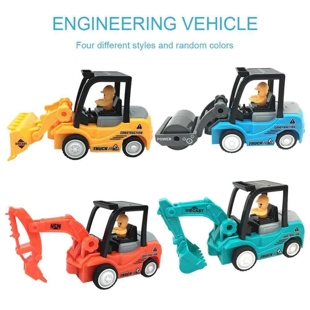 4 pièces ABS Mini Construction voiture jouets avec pelle Bulldozer route rouleau ascenseur camion jouets ingénierie véhicule ingénieur modèle