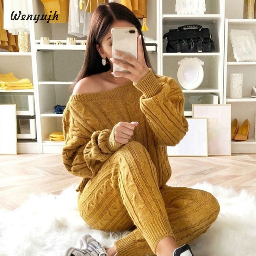 WENYUJH Autumn New Cotton Tracksuit Women 2 Piece Set Sweater Top+Pants Knitted Suit O-Neck Knit Set Women Outwear 2 Piece Set