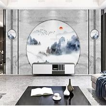 Новый Круглый пейзаж в китайском стиле, каменные обои, обои с поддержкой телевизора, гостиная, фоновая стена