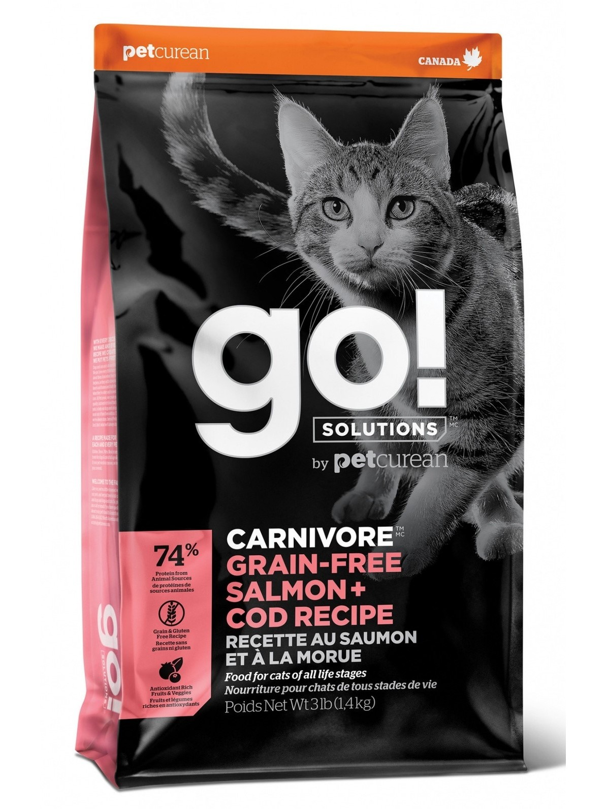 GO! CARNIVORE Grain Free Food For Kittens And Cats, Salmon And Cod, 3, 63 Kg.