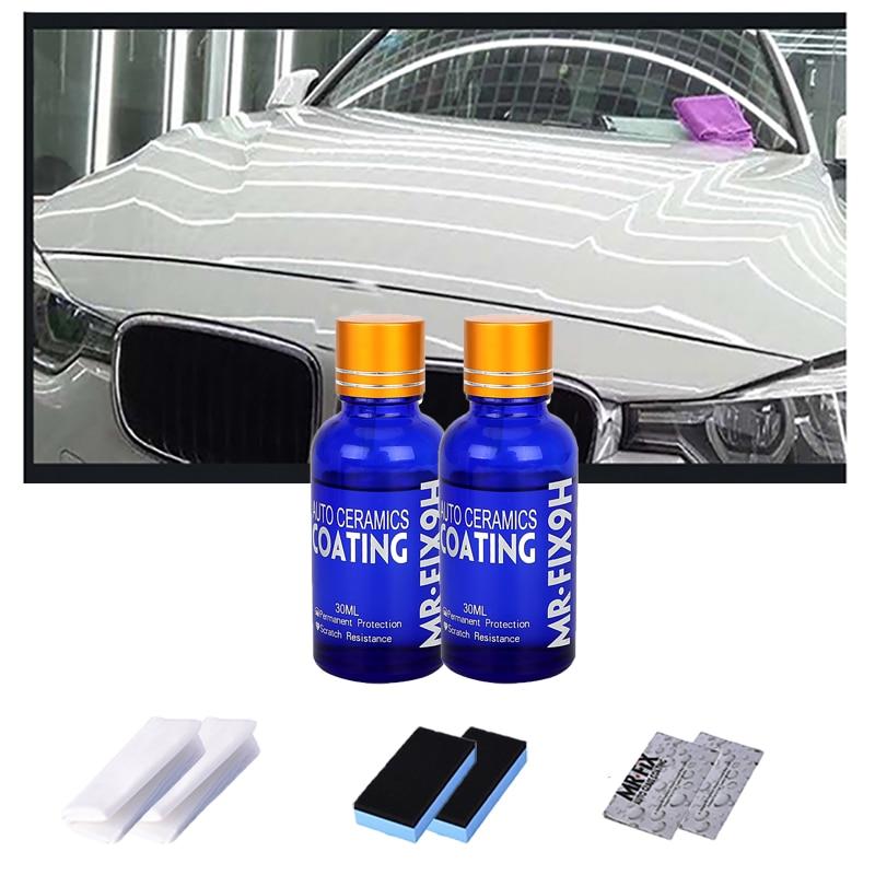 2 шт. 9H автомобильное жидкое керамическое покрытие, супер комплект гидрофобного стеклянного покрытия полисилоксан и наноматериалы, полиров...
