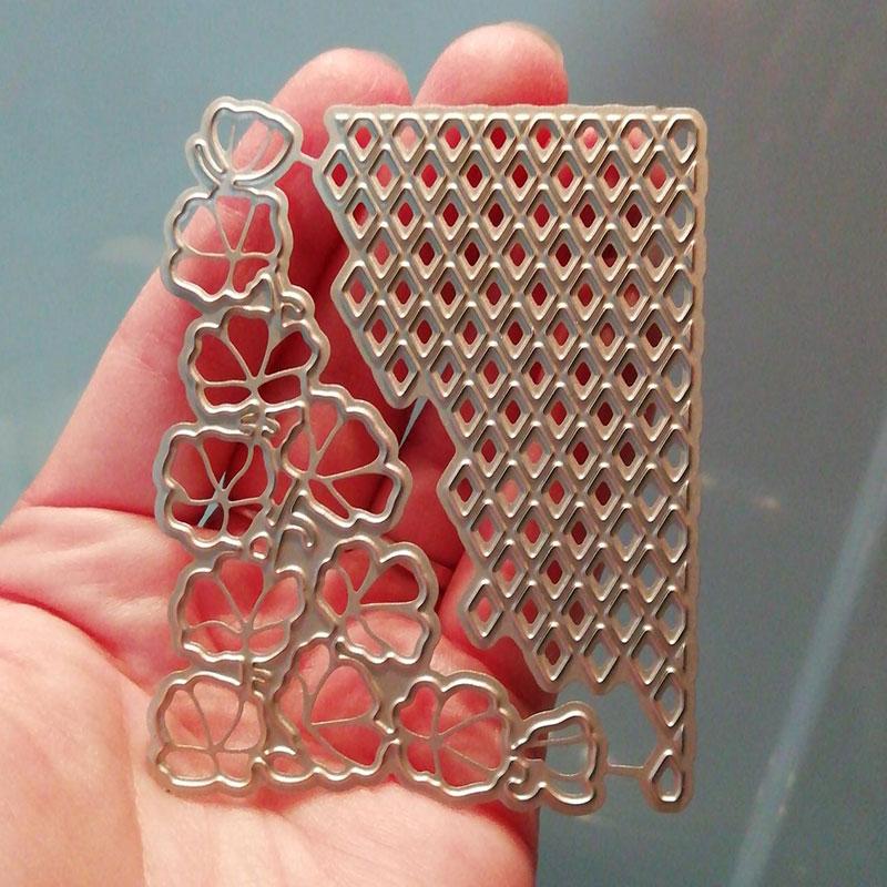 Flower Lattice Corner Metal Cutting Dies Scrapbooking Craft Dies Cuts Thin Paper Emboss Card Make Stencil 6.2X8CM