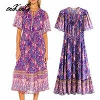 2019 fashion blogger vintage bohemian floral printing v-neck sexy maxi long za dress women vestidos de fiesta de noche vestidos