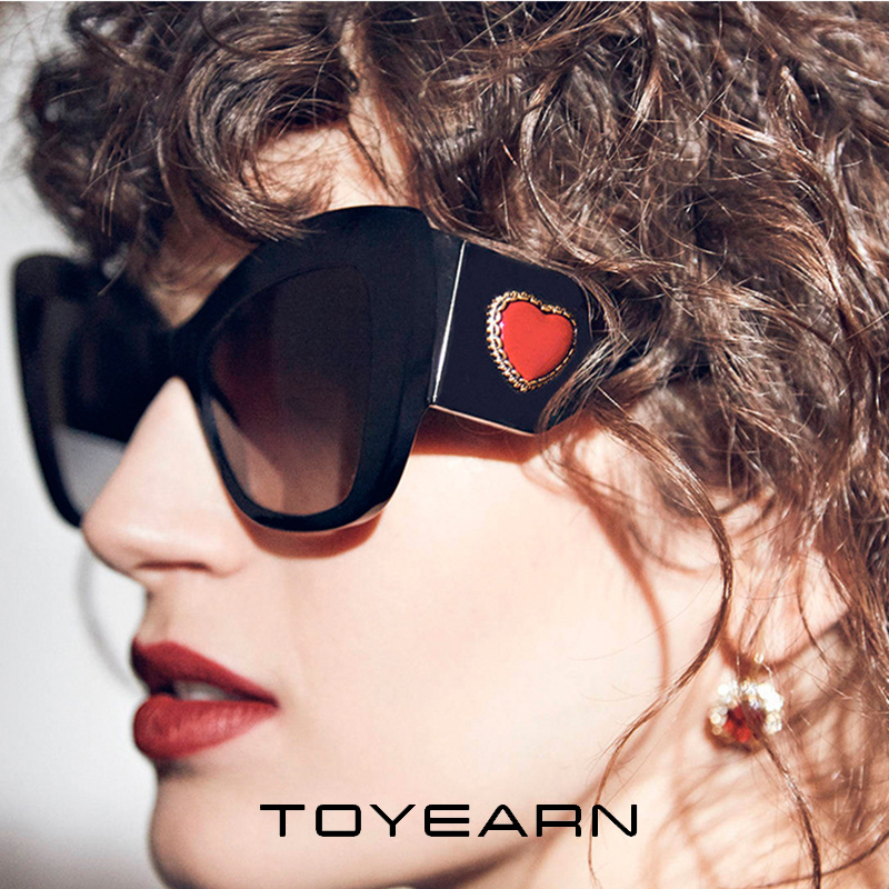 2020 New Fashion Sexy Ladies Cat Eye Sunglasses Women Luxury Brand Designer Big Red Heart Frame Sun Glasses For Female UV400