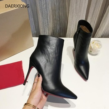 2020 luxry brand red bottom boots for women high heel boots 8cm 10cm thin heel pointed toe boots women shoes + red dust bag35-42 red dust novel