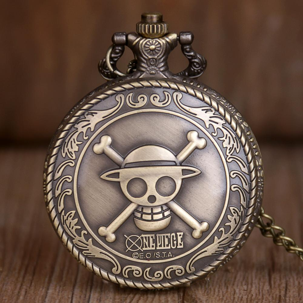 2019 High Quality Bronze One Piece Theme Quartz Pocket Watches With Necklace Chain White Dial Best Gift To Kids TD2005