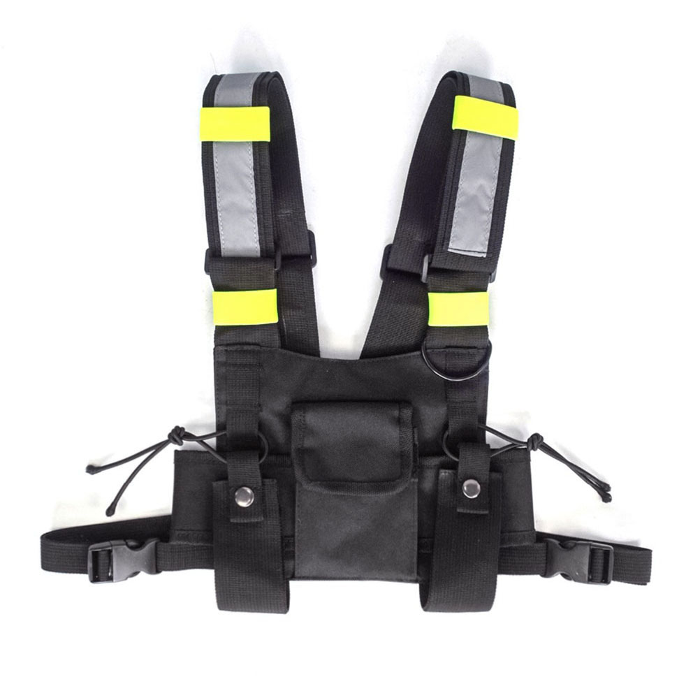 Multi-functional Chest Rig Bag 600D Oxford Cloth Military Reflective Strip Vest Harness Front Pack Pouch Holster Vest Rig