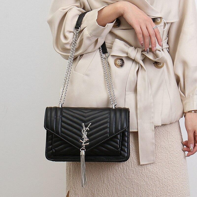 Lingge Embroidery Thread Chain Bag 2020 New Korean Version Of The Shoulder Messenger Bag Senior Sense Tassel Female Bag