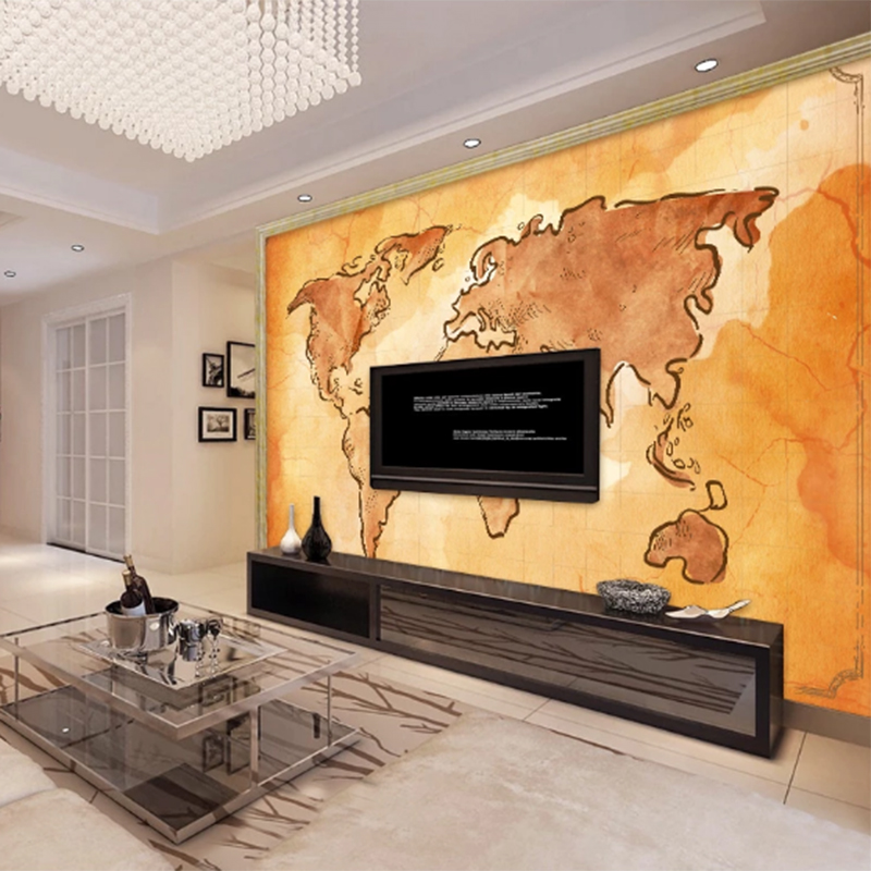 2020 Customized Modern Personality 3d Wallpaper Hand Drawn Retro Vintage World Map TV Background Papel De Parede Papier Peint