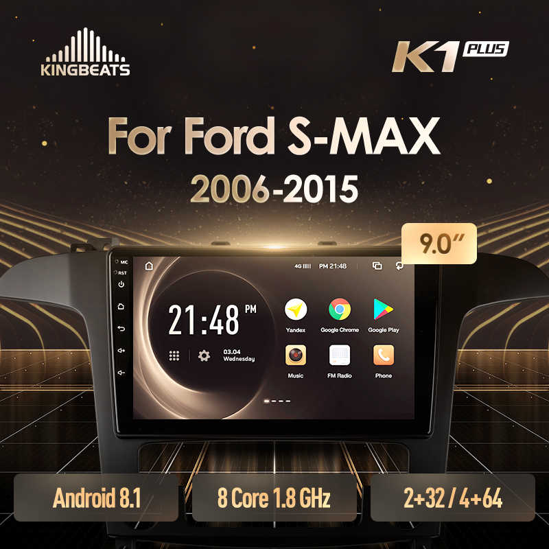 Kingbeats Android 8.1 Octa-Core Head Unit 4G Di Dash Mobil Radio Pemutar Video Multimedia Gps Navigasi untuk ford S-MAX S MAX 1 2006 - 2015 Tidak Ada DVD 2 DIN Double Din Android Mobil Stereo 2din DDR4 2 + 32G 4 + 64G