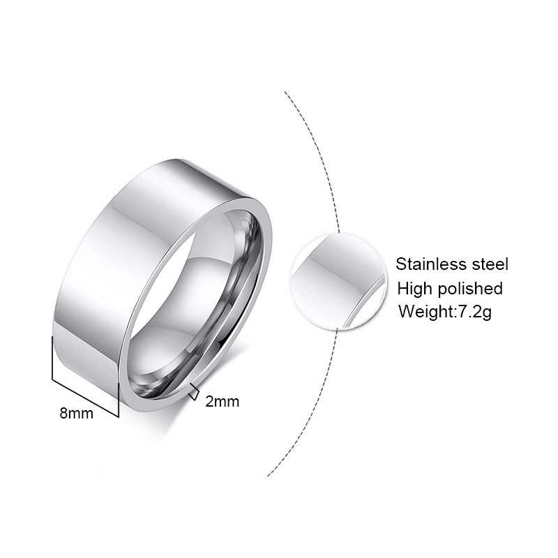 SIZZZ 2019 6/8 มม.สแตนเลสสตีลแบน light body สามารถตัวอักษรที่กำหนดเองขนาดเล็กแหวนสำหรับชาย