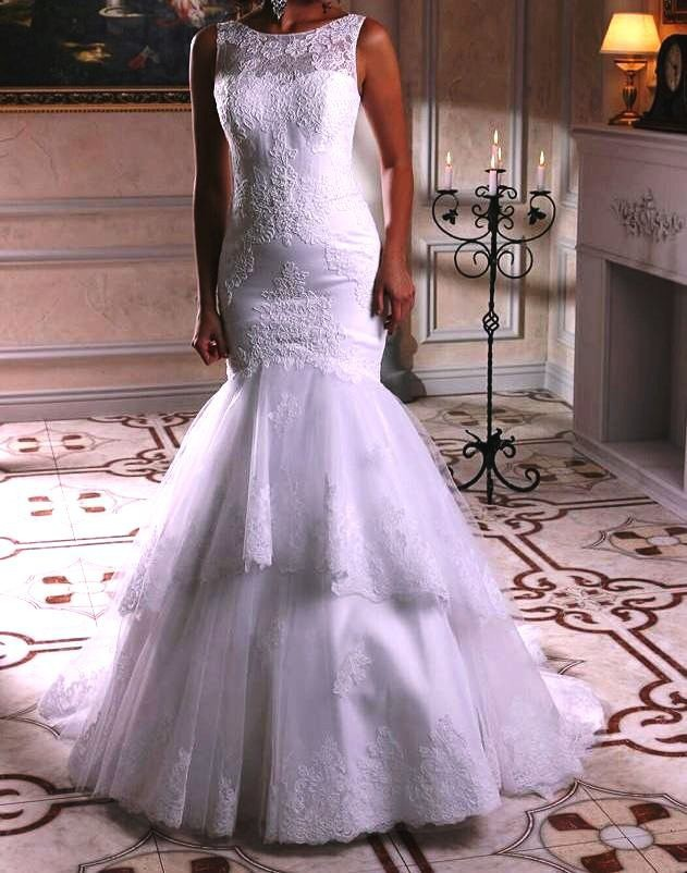 Tiered Lace Mermaid Wedding Dresses 2016 Sexy Wedding Gowns Applique White Bridal Gown Custom Made Vestido De Noiva Sereia