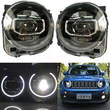 Jeep Renegade 2015 2018 için farlar LED DRL ışıkları bi xenon işın melek gözler otomatik kafa lambası
